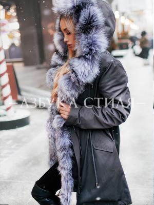 Парка зимняя с мехом чернобурки темно-серая