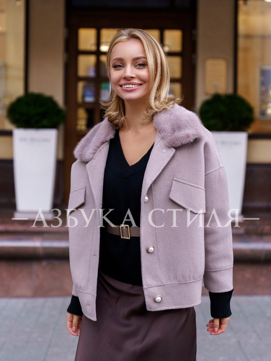 Шерстяная куртка с мехом норки Carla